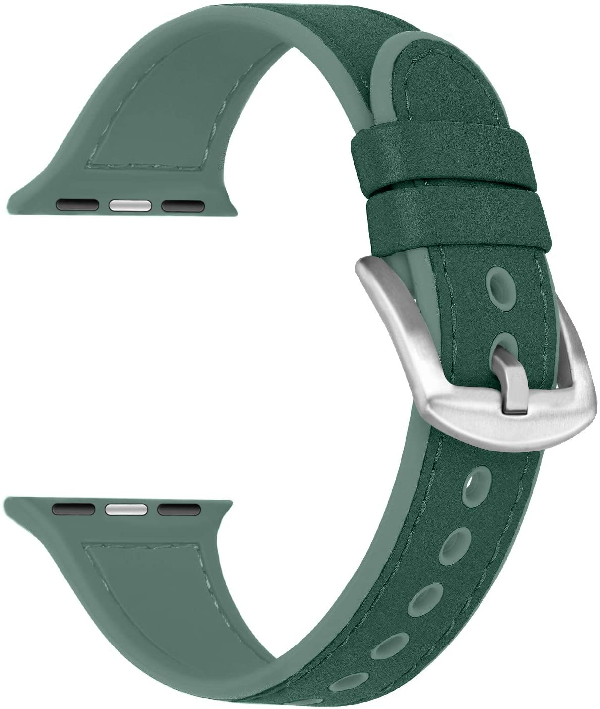 Misker Leather Band Compatible Withe Apple Watch 38mm 40mm 42mm 44mm, Genuine Leather withe Silicone Replacement Strap Buckle Compatible with iWatch Series 5/4/3/2/1 (Blackish green, 42mm/44mm)