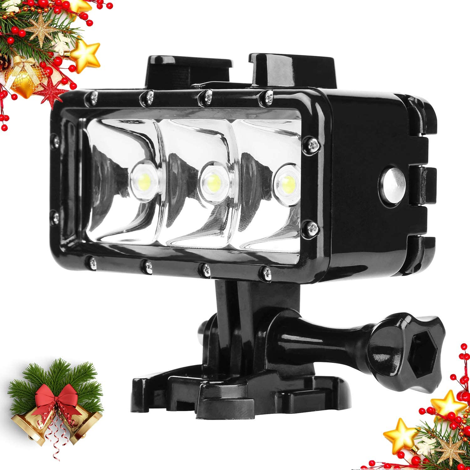 Underwater Lights Dive Light Mojosketch High Power Dimmable Waterproof LED Video Light Waterproof 30m for GoPro Hero 7 6 5 4 3+ Action Camera, Campark Underwater Photographic Lighting System