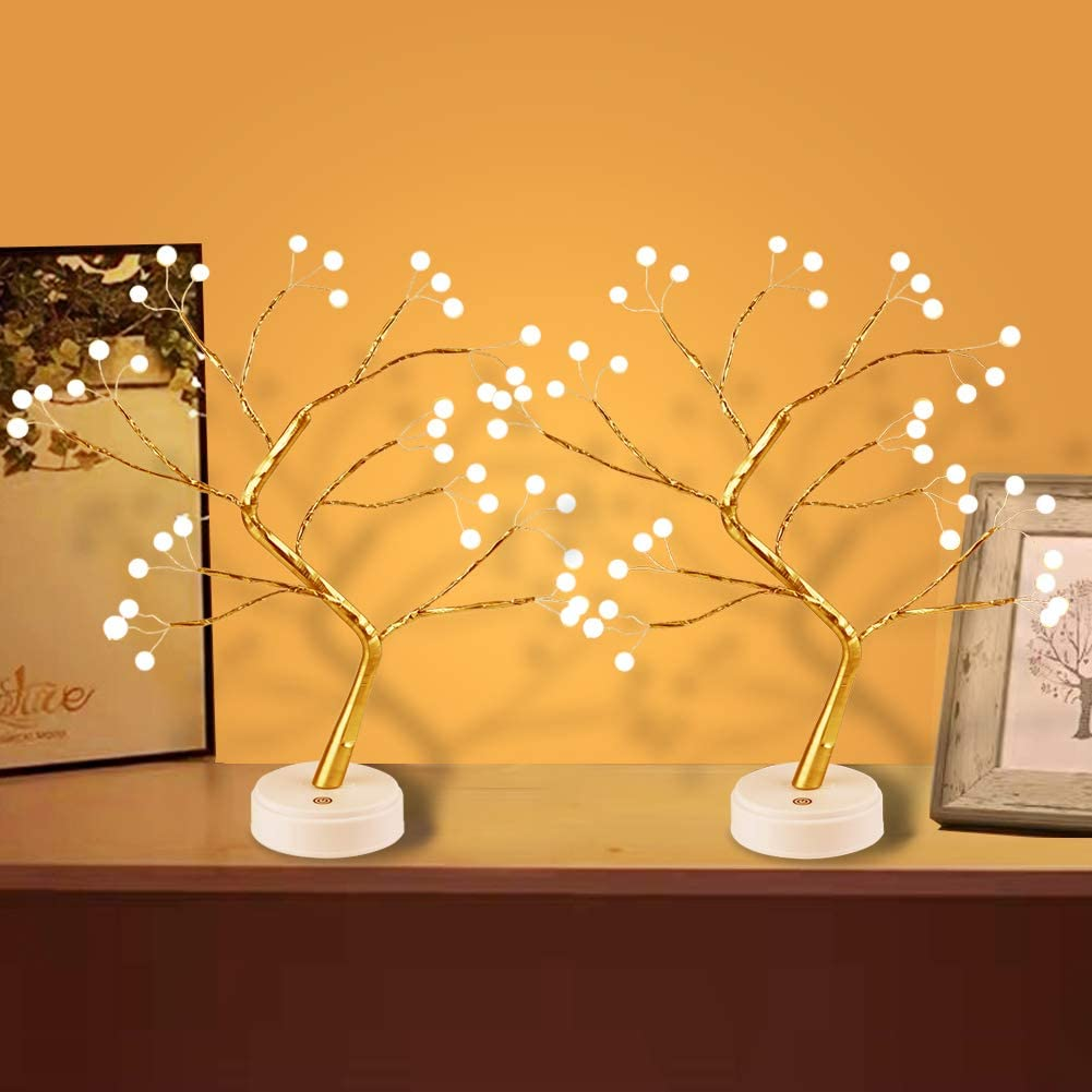 Yiliaw Tabletop Bonsai Tree Light with 36 Pearls LED, DIY Artificial Lamp Tree Lamp Decoration, Touch Switch,USB or Battery Powered, for Bedroom Desktop Christmas Party Indoor Decoration Night Light