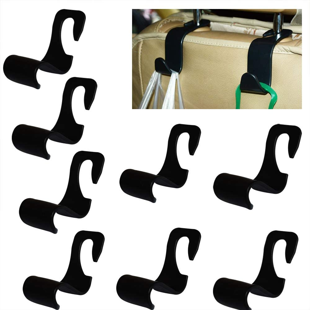 Xmomx 8 Pack Car Headrest Hooks Vehicle Back Seat Vehicle Hooks Hanger Storage for Bags, Purses, Grocery Bags, Coats and Clothes
