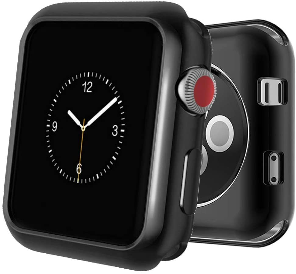 Case Compatible Apple Watch Series 4, Shock Proof Protective Silicone Bumper Resistant TPU Protector Case Cover Replacement for Apple Watch Series 4 (Gloss Black, 42mm)
