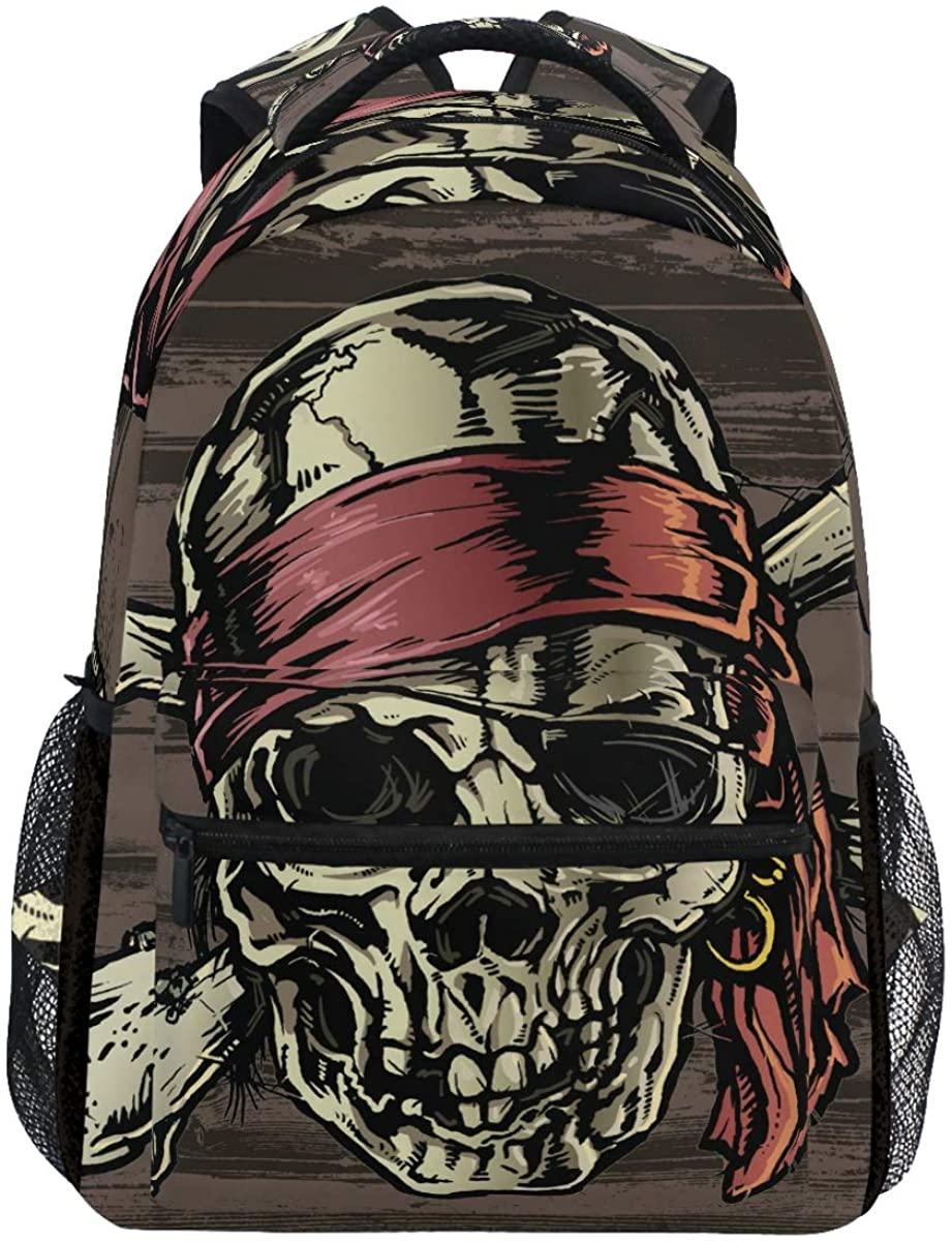 Kaariok Vintage Pirate Skull Wooden Halloween Backpack Bookbags Daypack Travel School College Bag for Womens Mens Teens