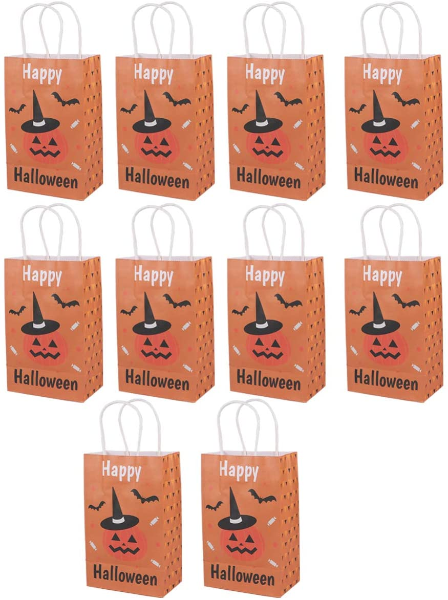 Garneck 10Pcs Halloween Paper Candy Bags Witch Pumpkin Gift Pouches Trick or Treat Bags Goodie Bags Halloween Party Favor