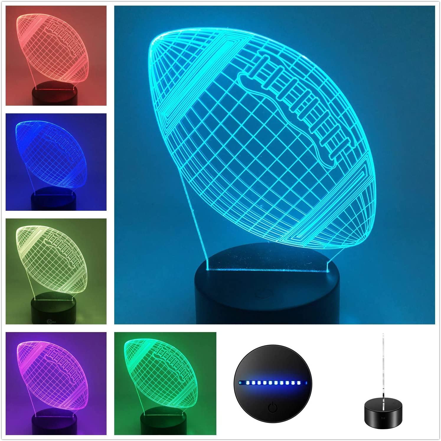 DowBier 3D Illusion Multi Colors USB Sleeping Night Light Desk Lamp Room Decoration (Football)