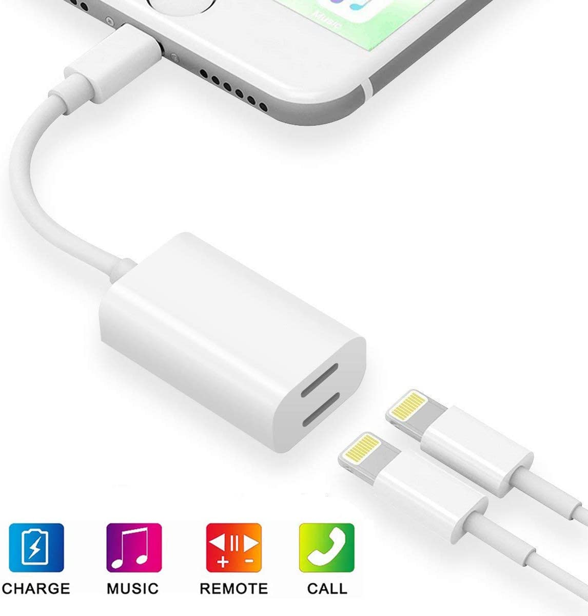 [Apple MFi Certified] Dual Lightning iPhone Splitter,2 in 1 Lightning Headphone Jack Audio + Charge Cable Compatible for iPhone 11/11 Pro/XS/XR/X 8 7, iPad,Sync Data + Music Control,Support iOS 13