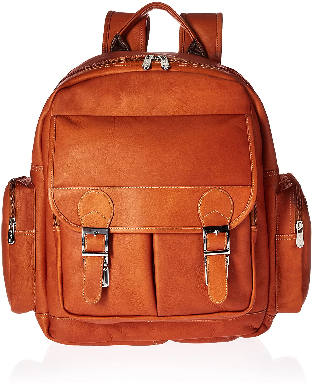 Piel Leather Ultimate Travelers Laptop Backpack, Saddle, One Size