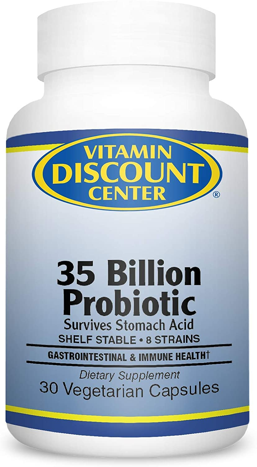 Vitamin Discount Center, Probiotic 35 Billion Dietary Supplement with Prebiotic Blend, Gastrointestinal & Immune Health, Shelf Stable, 8 strains, 30 Vegetarian Capsules