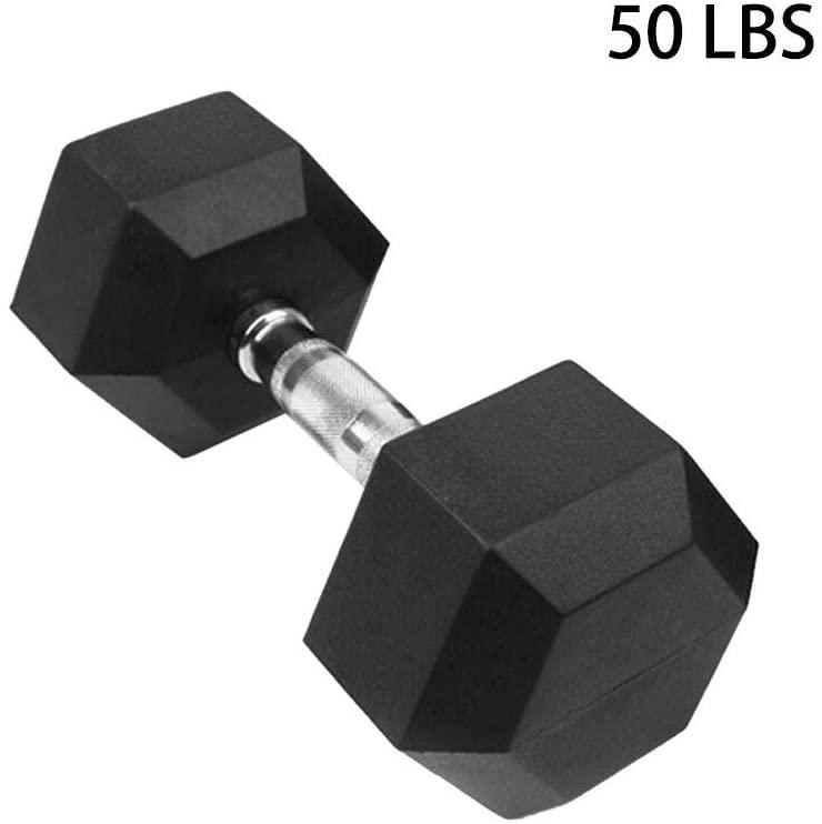 lkoezi Dumbbells Set, Hex Rubber Dumbbells Barbell Set with Metal Handles Dumbbell Barbell Weights Set - Weights 5 Lbs, 10 Lbs, 20 Lbs, 30 Lbs, 50 Lbs (50lbsx1pc)