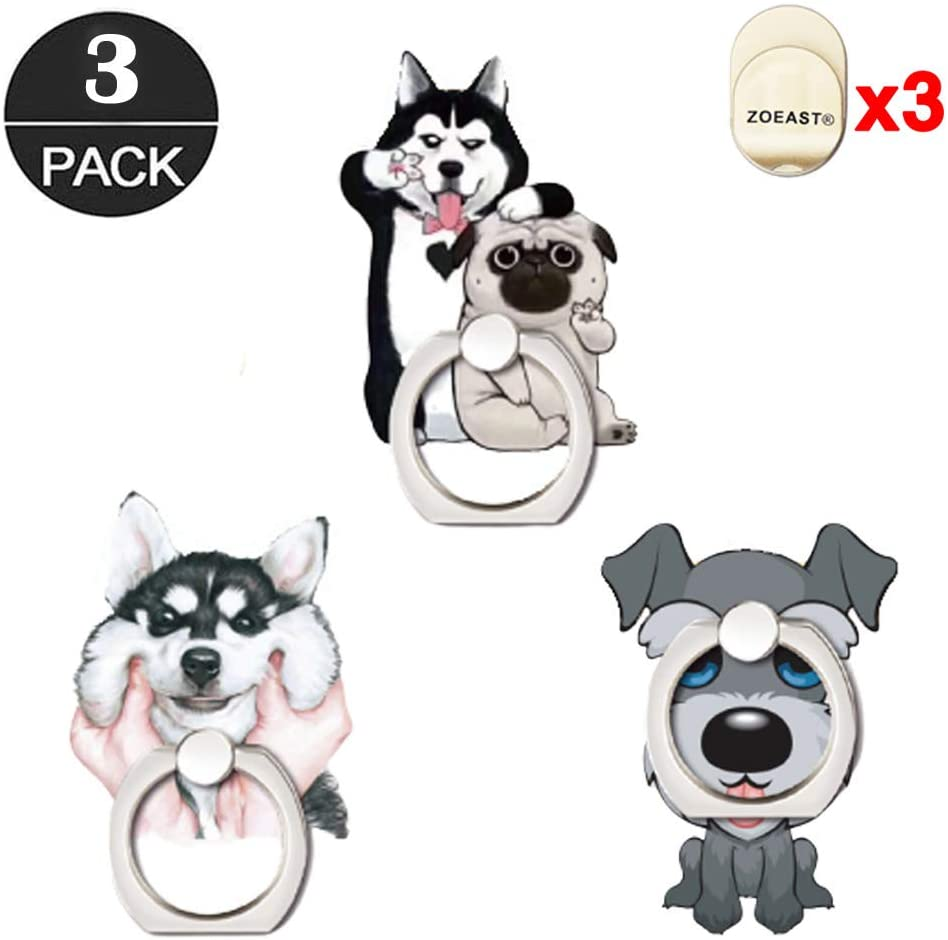 ZOEAST(TM) 3 Pack Phone Ring Grip, Alaskan Schnauzer Pug Dog Universal 360°Adjustable Phone Case Finger Stand Holder Stent Mount Car Hook Compatible with All iPhone XR XS MAX X Plus iPad (3pcs Husky)