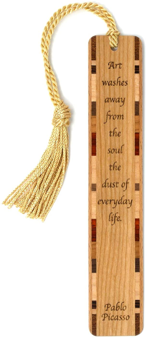 Pablo Picasso Quote, Engraved Wooden Bookmark with Tassel