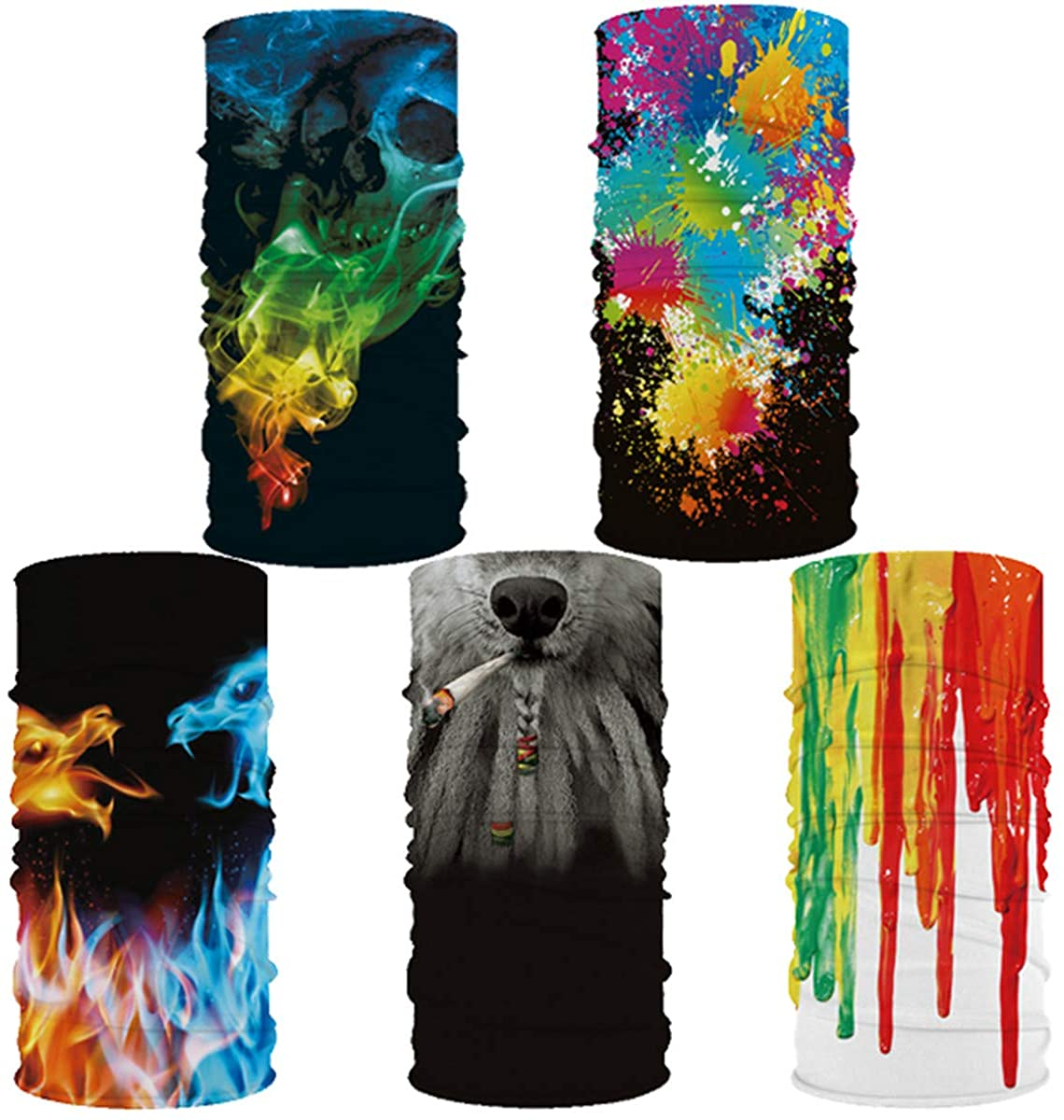 5 Pack of 3D Print Out Sport Face Mask Bandanas Neck Gaiter Sun UV Protection Dust Cover Balaclavas Scarf