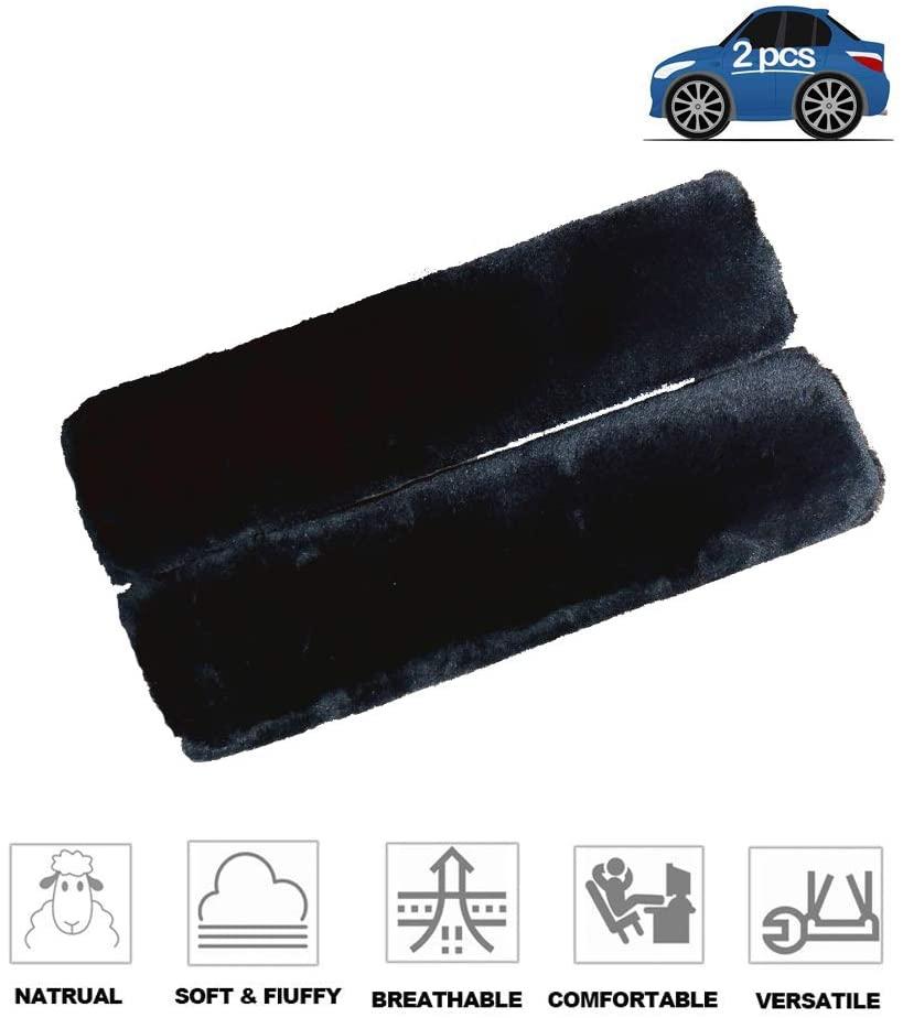 Fochutech 2Pcs Car Soft Plush Seat Belt Shoulder Pad Strap Cover Adjuster Protector Comfortable Driving (Black)