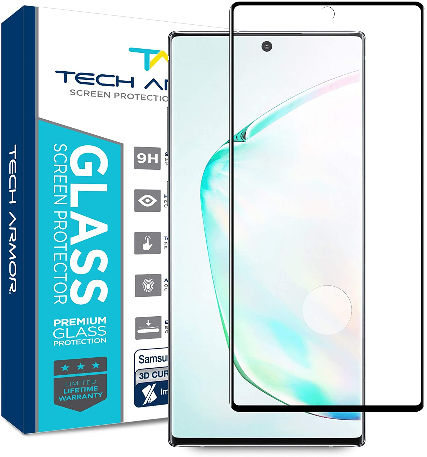 Tech Armor 3D Curved Ballistic Glass Screen Protector for Samsung Galaxy Note 10 Plus, CASE-Friendly, Scraping Card Included (Black) [1-Pack]