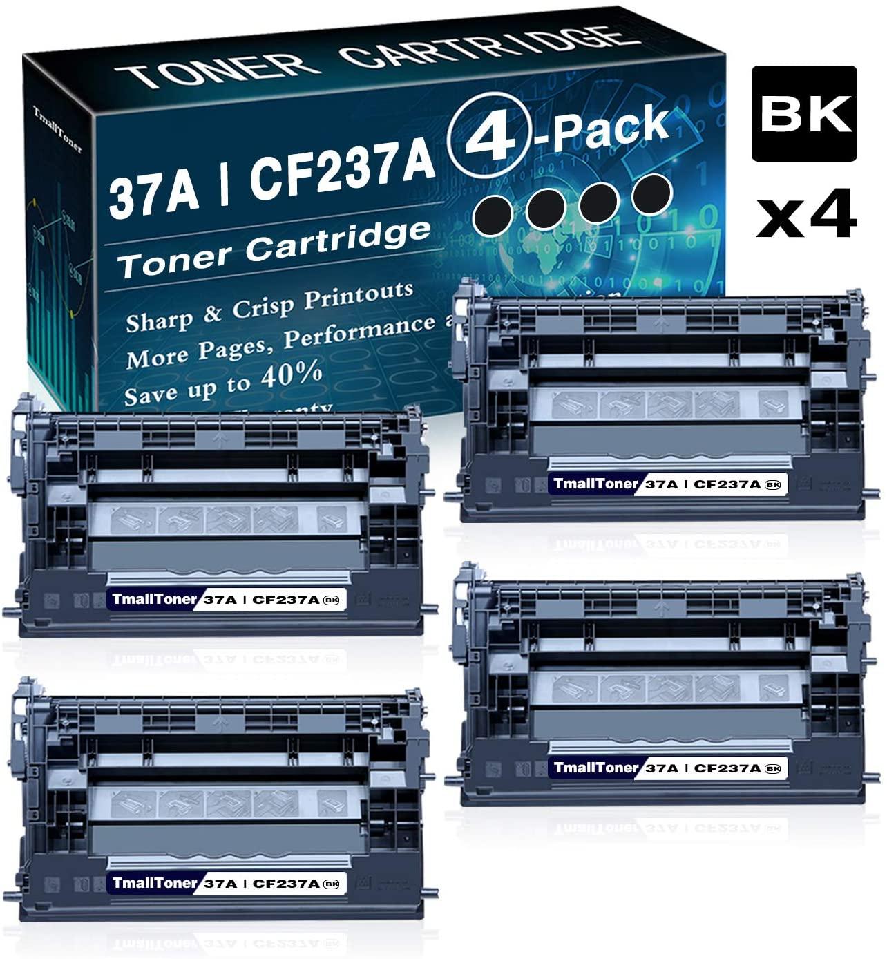 4 Pack High Yield 37A   CF237A Black Toner Cartridge Replacement for HP Laserjet M607n M607dn M608dn MFP M631dn MFP M632fht MFP M633fh M607 Series Printer,by TmallToner
