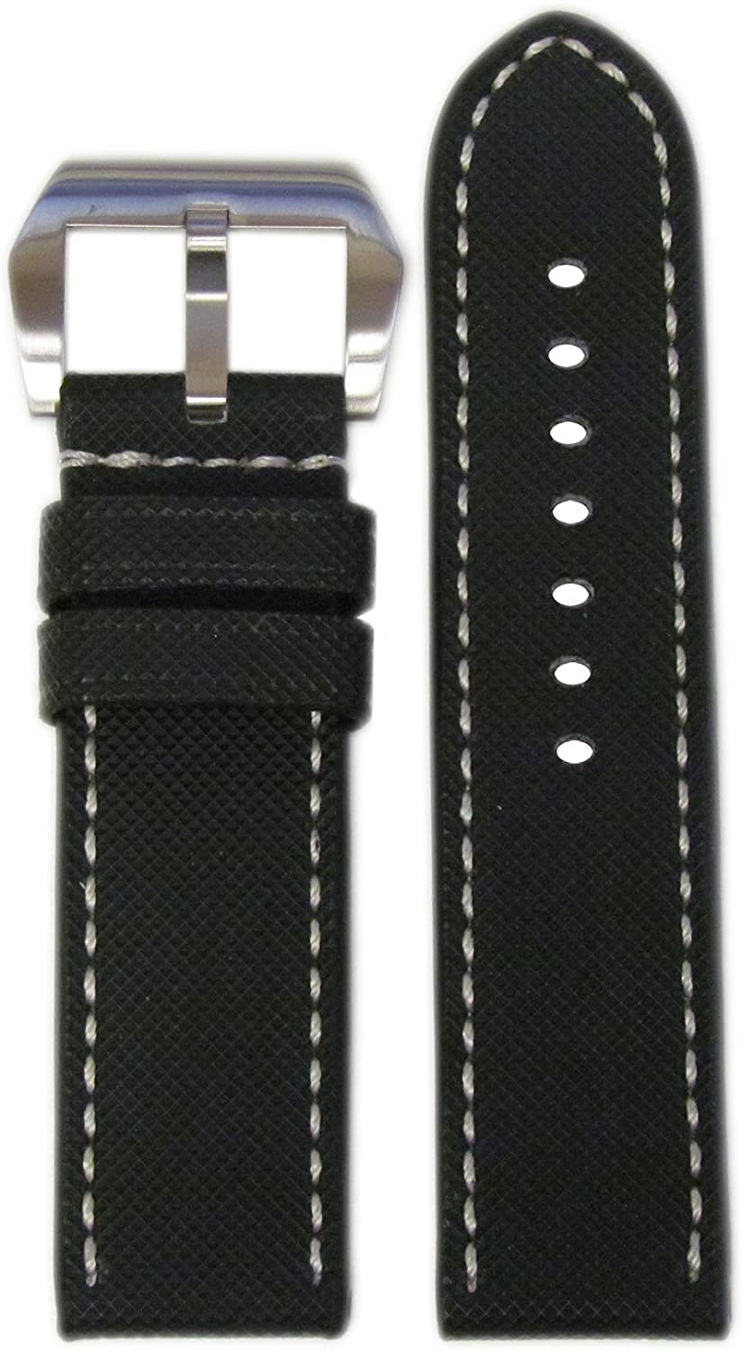 24mm RIOS1931 for Panatime Black 'KVLR' Style Waterproof Synthetic Watch Strap with White Stitching for Panerai 24/24 115/85