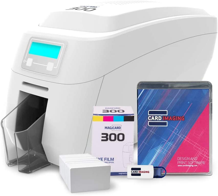 Magicard 300 Dual-Sided ID Card Printer & Supplies Bundle Badge Maker Machine (3300-0021)