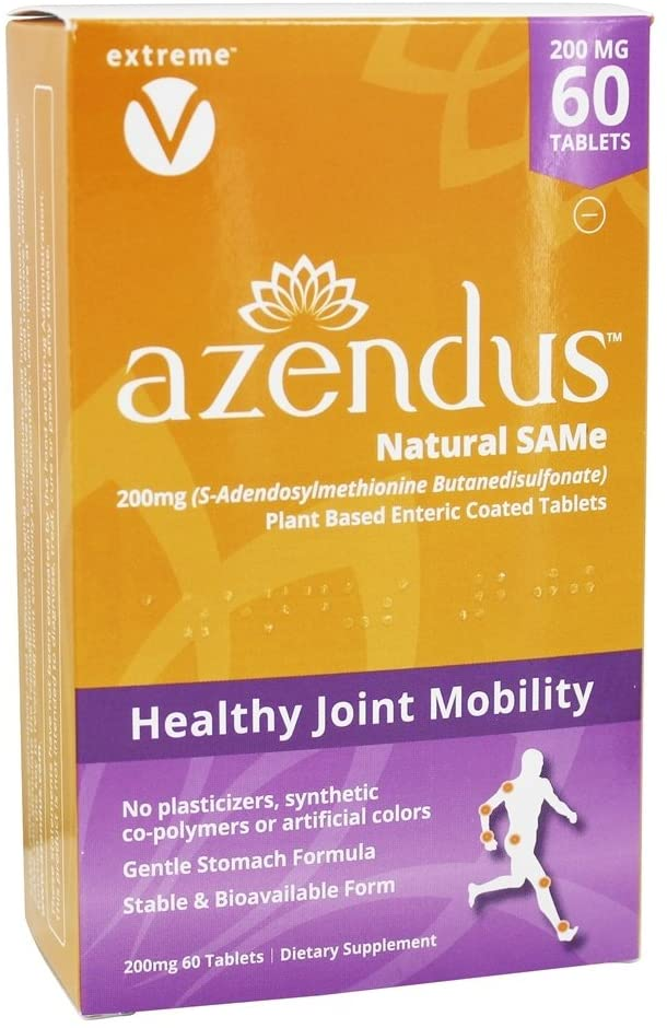 Azendus Natural SAM-e Joint Health Support, 60 Count, 200mg, Physician Trusted, 1 Recommended, Pure, Natural, Stable, Pharmaceutical Grade, Fast Absorption