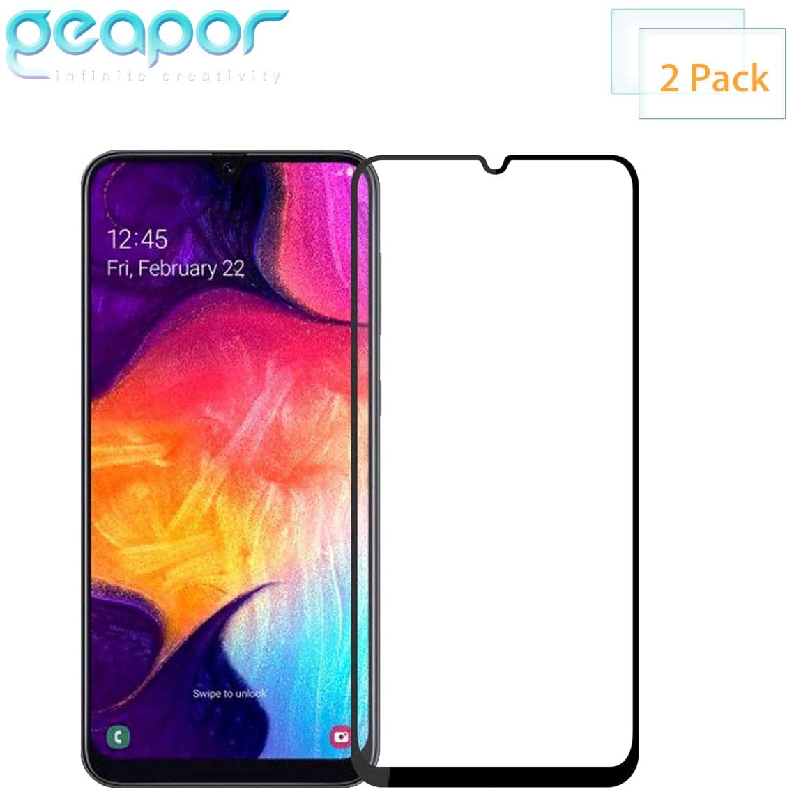 [2 Pack] Screen Protector for Samsung Galaxy A70 2019, Full Screen Coverage Geapor Tempered Glass Screen Protector for Samsung A70 9H HD-Clear Ant-Scratch Glass Protector -Black