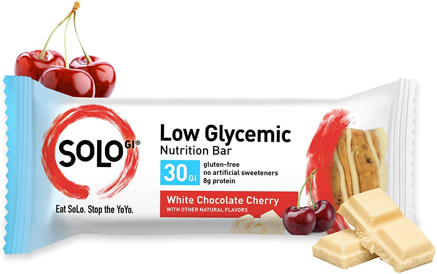 White Chocolate Cherry, Low Glycemic Protein Bars,Gluten Free,Slow Release Energy, Weight Management, Bars for Pre and Post Workout 10-12 Grams of Protein, 40-50g per Bar, 1 Box of 6 Bars -Solo Bars