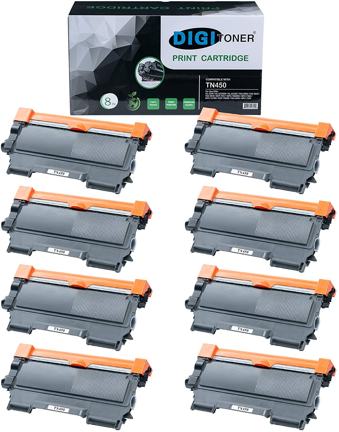 DIGITONER Compatible TN450 Toner Cartridge Replacement for Brother TN450 TN-450 Black, High Yield [8 Pack]