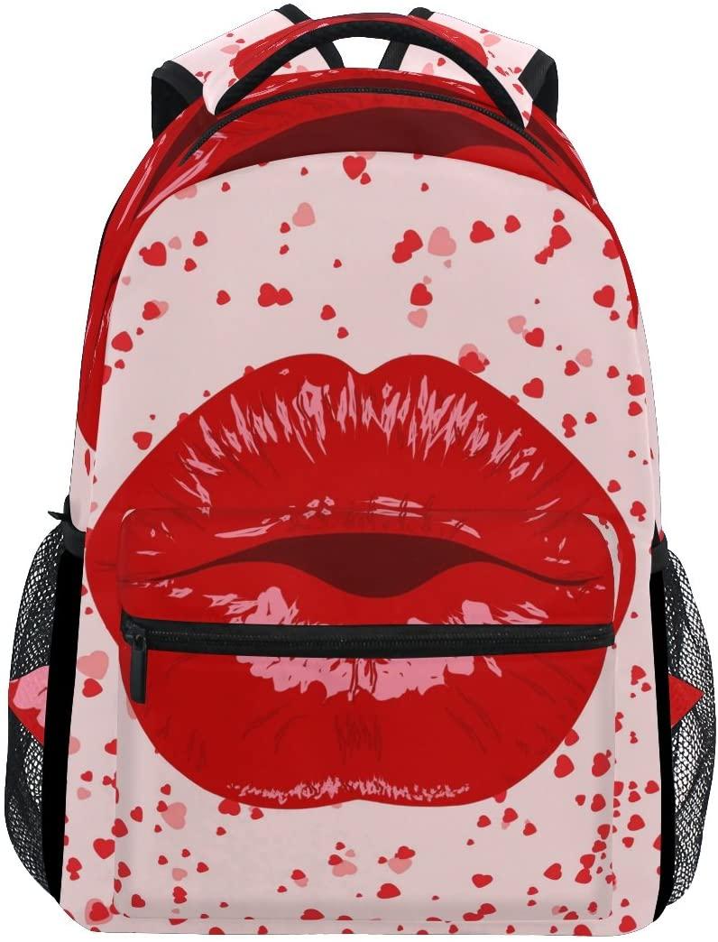 WXLIFE Sexy Lips Heart Red Backpack Travel School Shoulder Bag for Kids Boys Girls Women Men