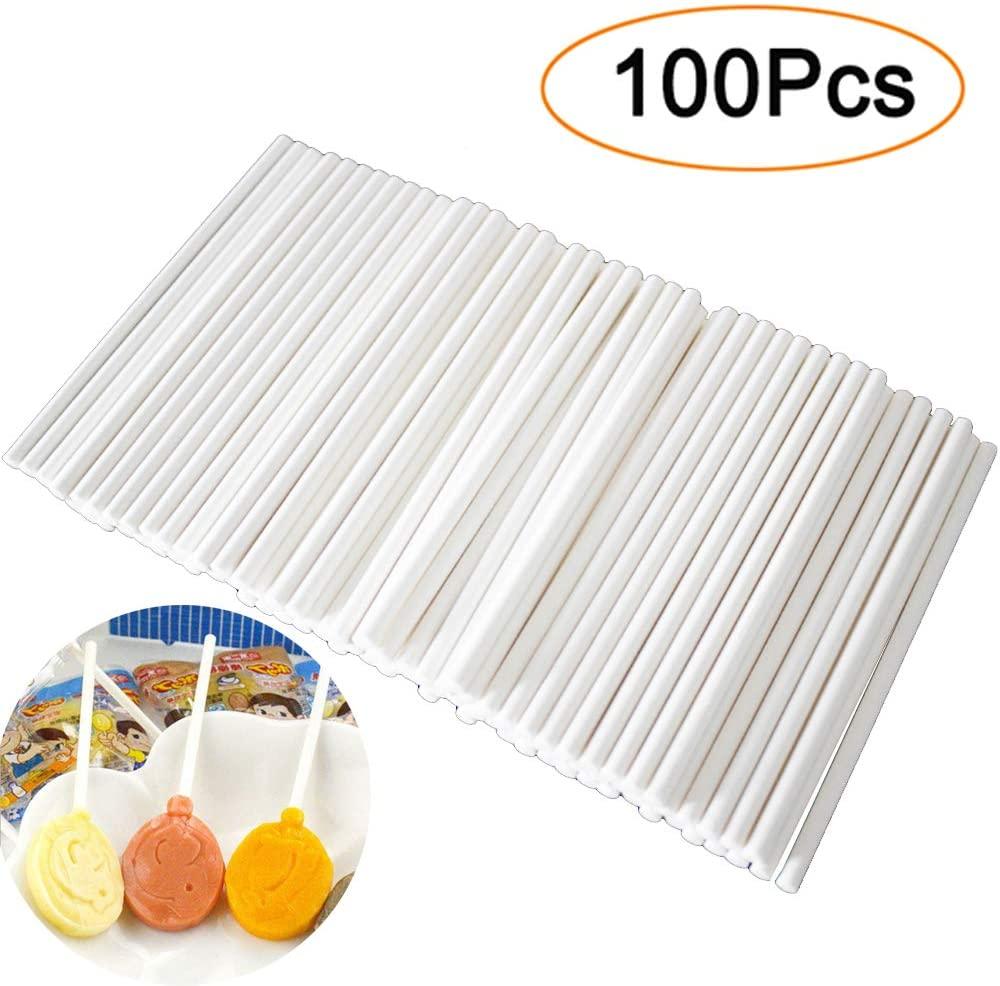 LXS White 6-Inch Lollipop Sticks, 100-Count(Lollipop Sticks)