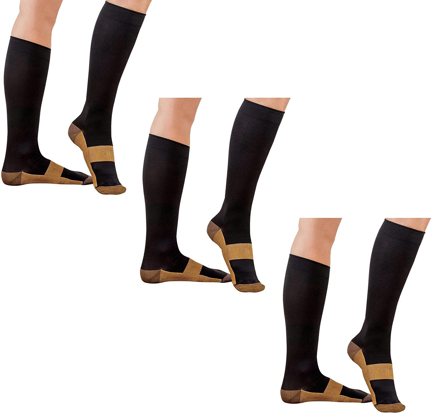 ASRocky Graduated Compression Copper Socks Anti-Fatigue Calf High Below Knee Mens Womens Foot Ankle Heel Support Pain Relief Sport Medical Stockings Reduce Swelling (3Pr, Lg/XL, Blk/Cu)