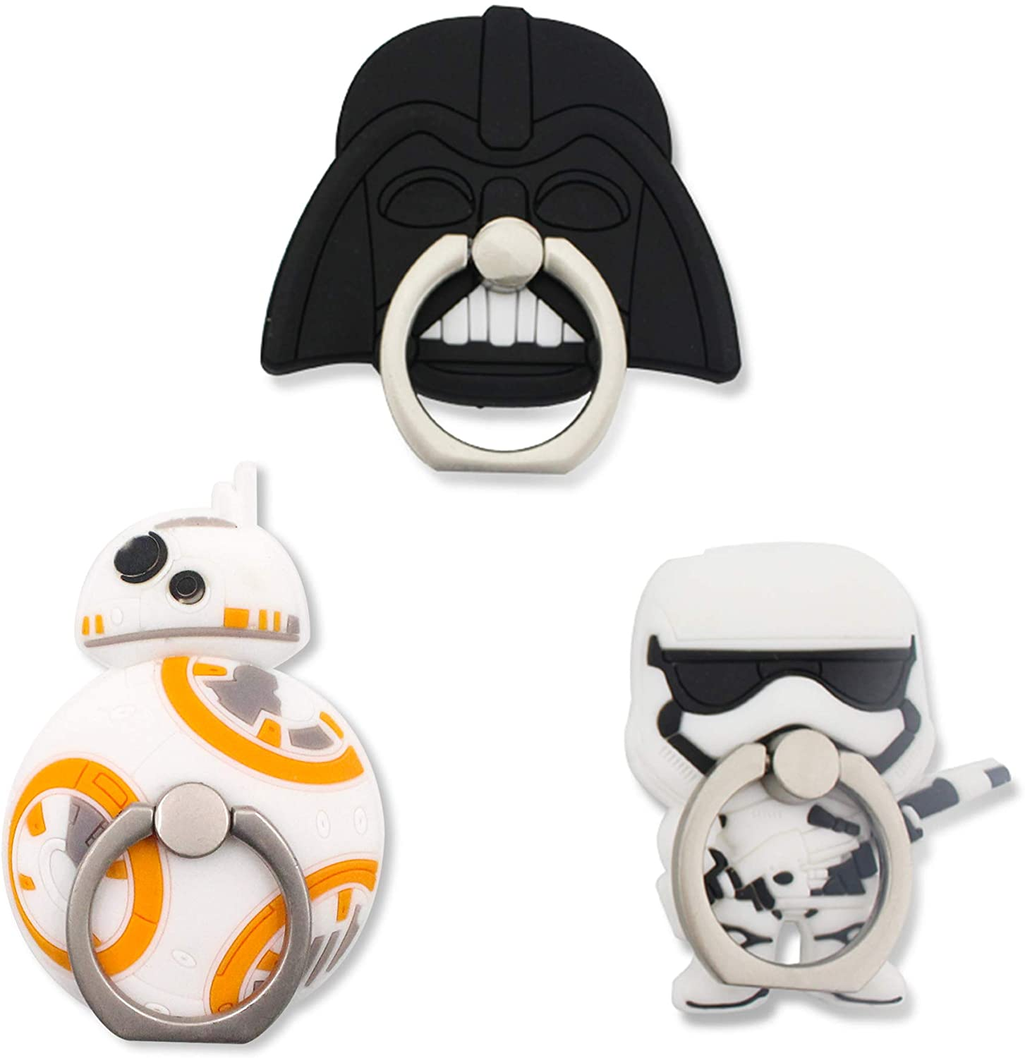 Finex 3 Pcs Set Star Wars 2-in-1 Mobile Cell Smart Phone Kickstand Finger Ring and Holder Stand Grip Cute 360 Degree Rotating for iPhone Samsung Android Case Random Kylo Ren Storm Trooper BB8