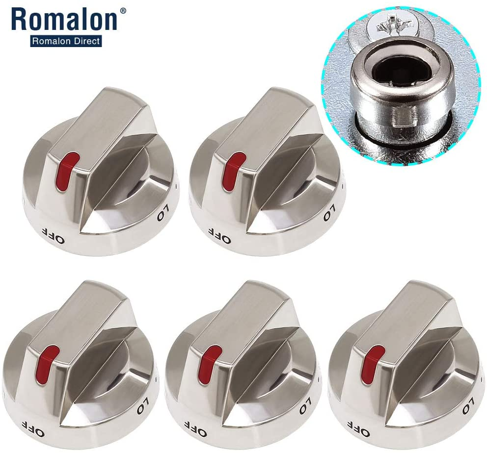 DG64-00473A Burner Control Dial Knob with Metal Reinforced Ring for Range Oven Gas Stove Knob NX58F5700WS NX58H5600SS NX58H5650WS NX58J7750SS NX58M6850SS NX58K7850SS by Romalon (5pack)