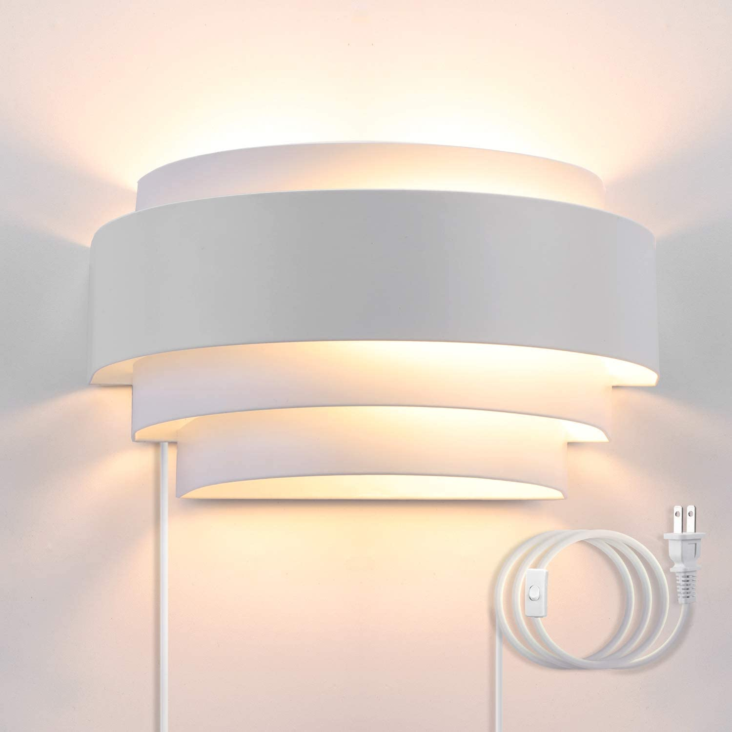 Bjour Modern Wall Sconces Plug in Up Down Wall Sconce White Bedroom Wall Lamp Metal Shade Wall Mounted Lamps with 6FT Plug in Cord for Bedroom Living Room Hallway, Warm White, 7W