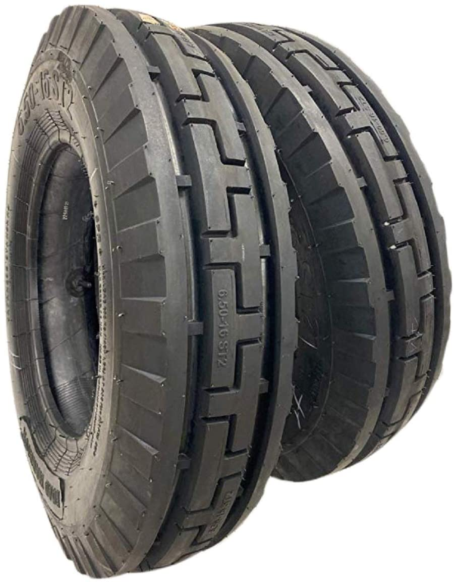 ROAD CREW (2 TIRES + 2 TUBES) 6.50-16 8 PLY ST2 3-Rib Farm Tractor Tires 6.50x16