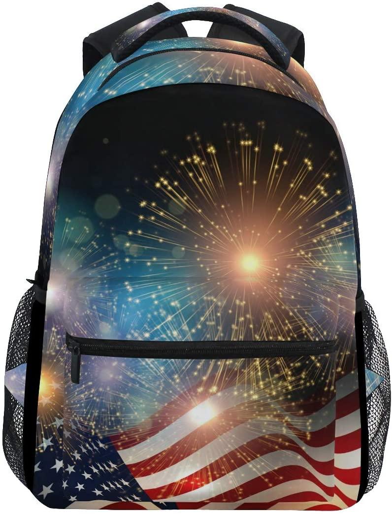 JOYPRINT Backpack American USA Flag Firework Shoulder Bag Daypack Travel Hiking for Boys Girls Men Women