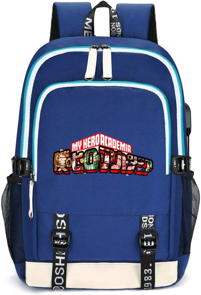 My Hero Academia Travel Bag Laptop Backpack Collage Student Bag with USB Charging Port