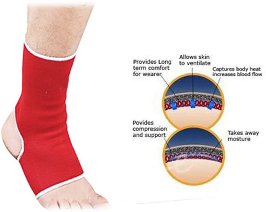 RAD Elasticated Neoprene Ankle Foot Brace Support Pain Injury Relief Leg & Foot Red