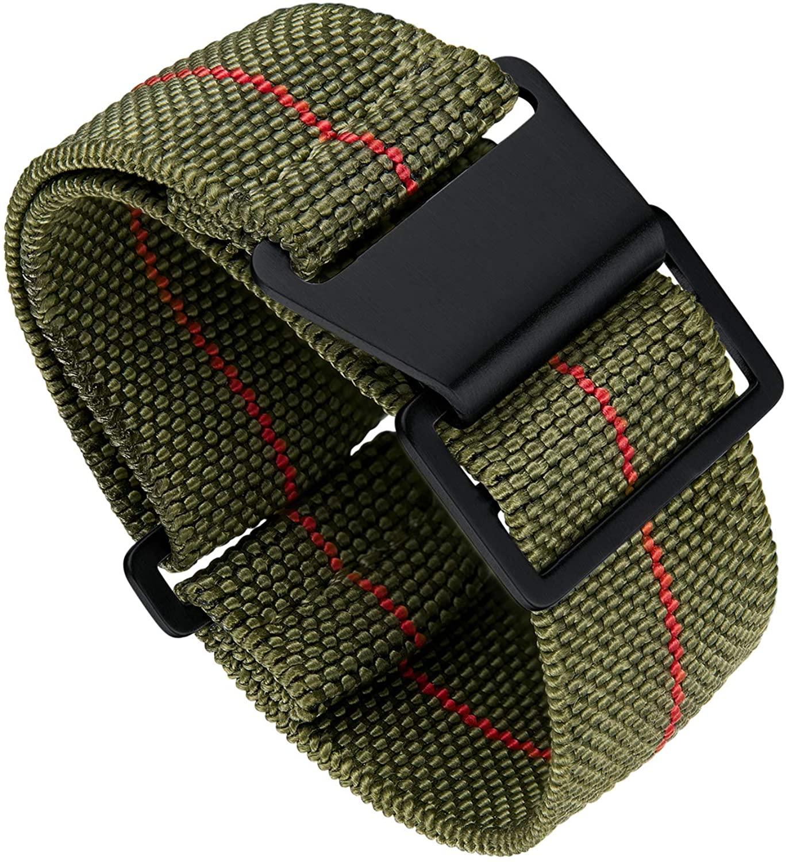 Binlun Elastic NATO Fabric Nylon Watch Band Waterproof Replacement Hook-and-Loop Watch Strap 18/20/22mm