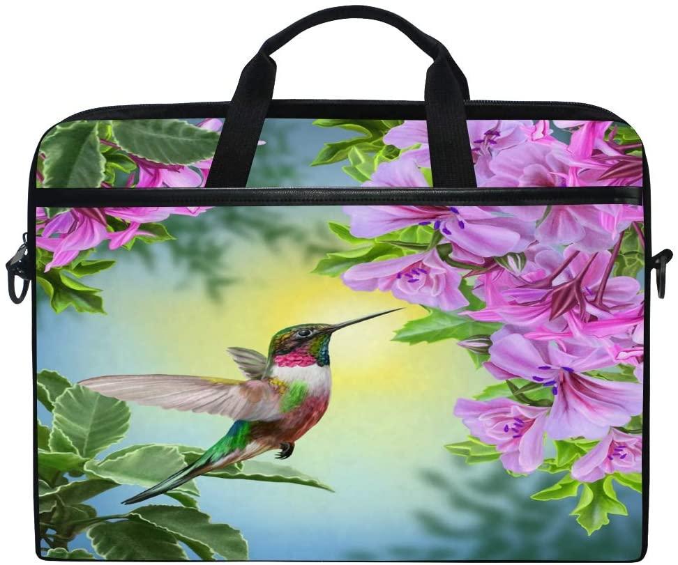 WXLIFE Bird Hummingbird Floral Flower 13 13.3 14 Inch Laptop Shoulder Messenger Bag Case Sleeve Briefcase with Handle Strap for Men Women Boys Girls