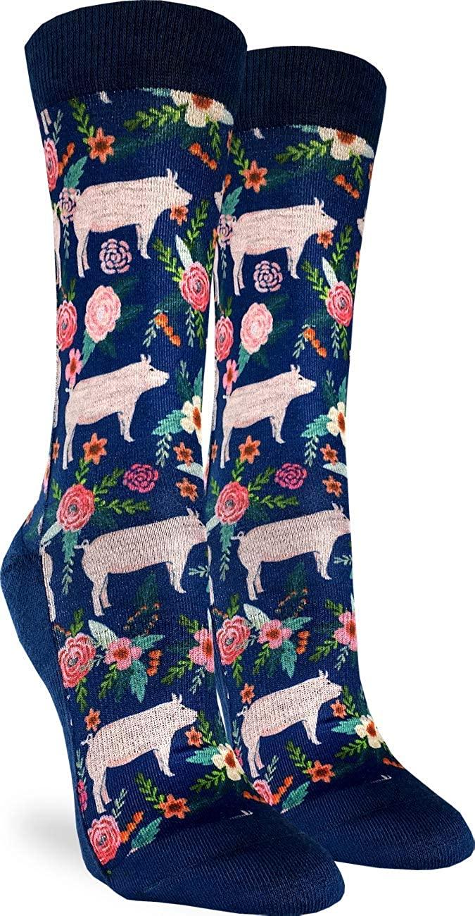 Good Luck Sock Women's Floral Pigs Socks - Blue, Adult Shoe Size 5-9