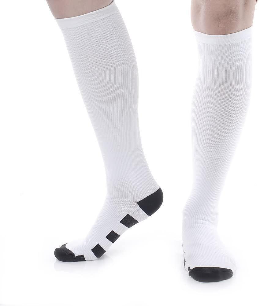 MojaSports Graduated Compression Socks Athletic Medical Sports Stockings (S2) (B11.) White/Black : 1 Pair, Small/Medium)