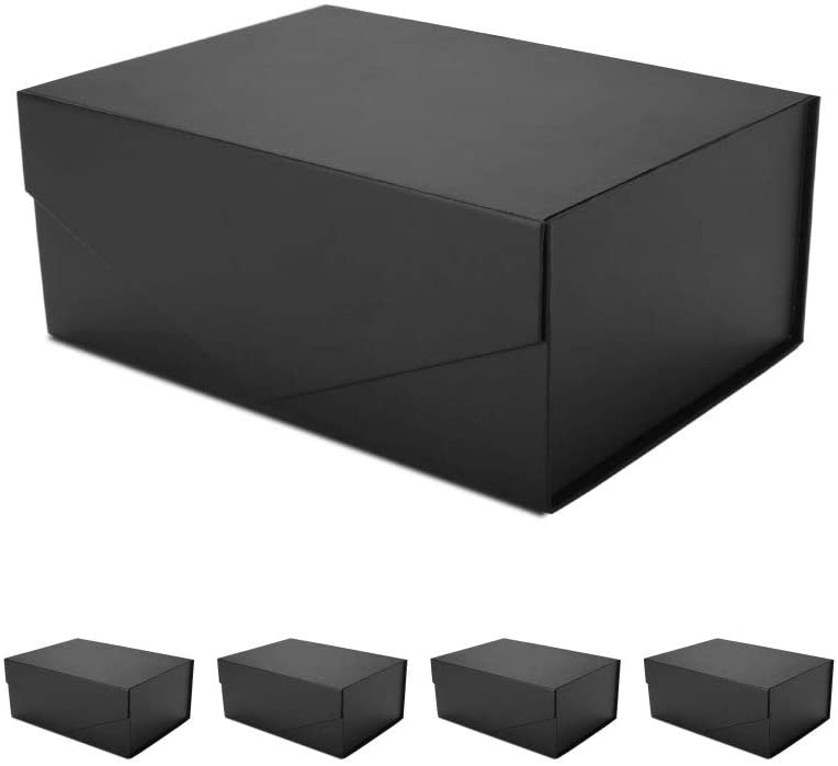 PACKHOME 5 Gift Boxes 9.5x7x4 Inches, Groomsman Boxes, Rectangle Collapsible Boxes with Magnetic Lids for Gift Packaging (Matte Black, Grid Pattern)