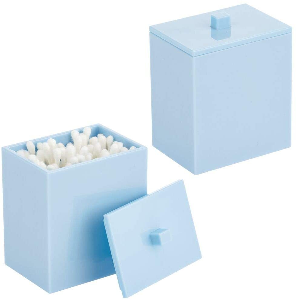 mDesign Modern Square Bathroom Vanity Countertop Storage Organizer Canister Jar for Cotton Swabs, Rounds, Balls, Makeup Sponges, Bath Salts, 2 Pack, Light Blue