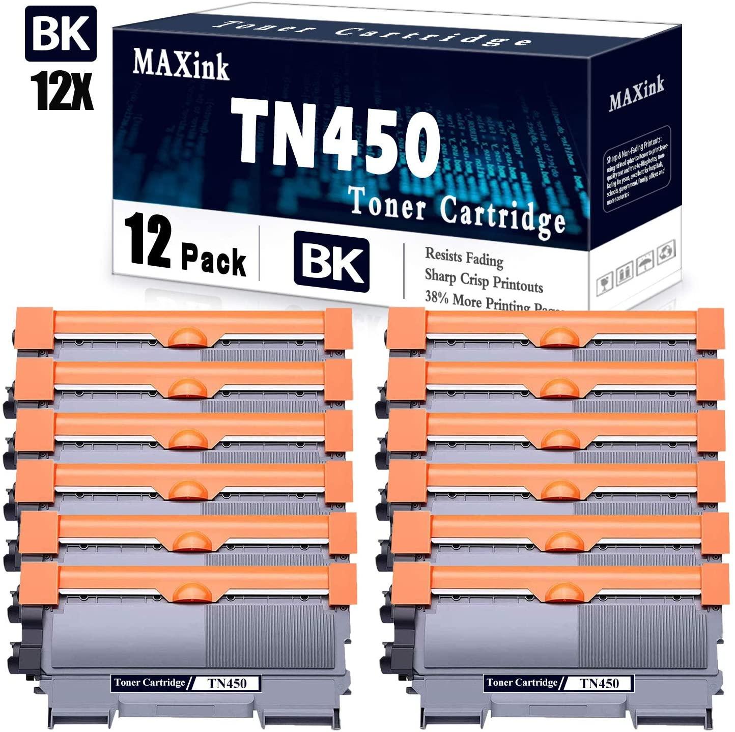 Compatible 12-Pack Black TN450 High Yield Toner Cartridge Replacement for Brother DCP-7060D,MFC-7240,MFC-7360N,MFC-7365DN;HL-2130,HL-2230,HL-2240,HL-2242D,HL-2250DN,HL-2275DW Printers.