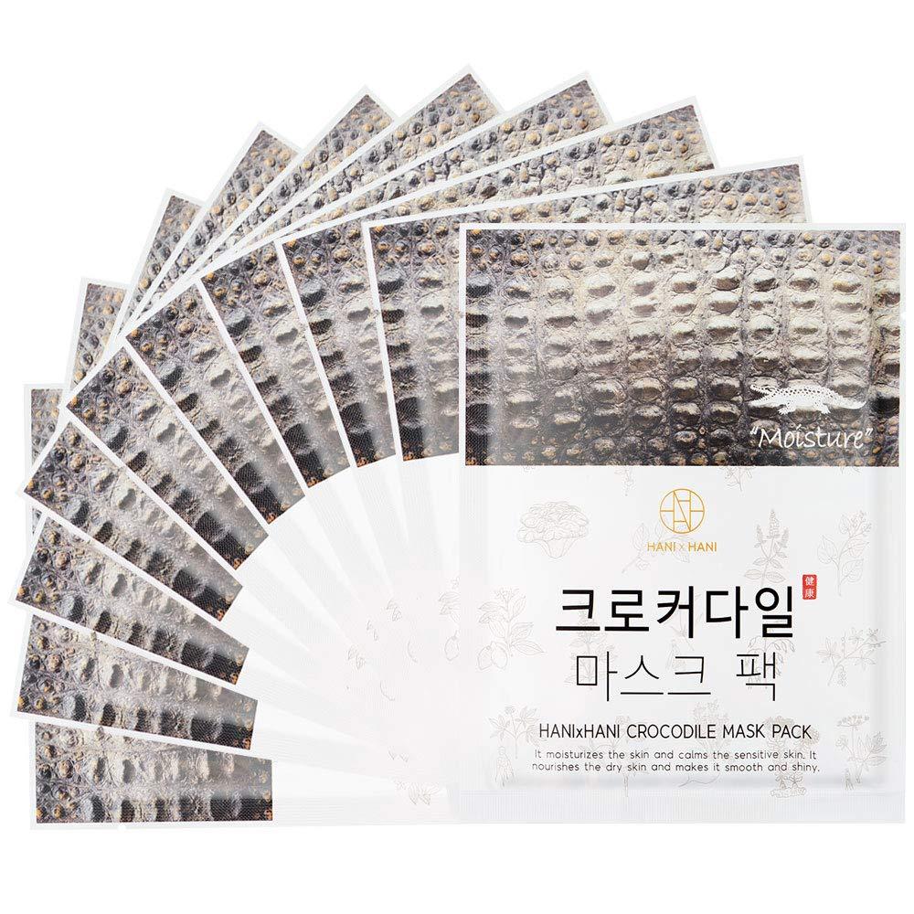 Korea HANI X HANI Crocodile Full Face Facial Mask Sheet Extra Hydration Soothing Effect Anti Aging and Wrinkle Skincare 25 ml x 10 ea - 0.85 Ounce