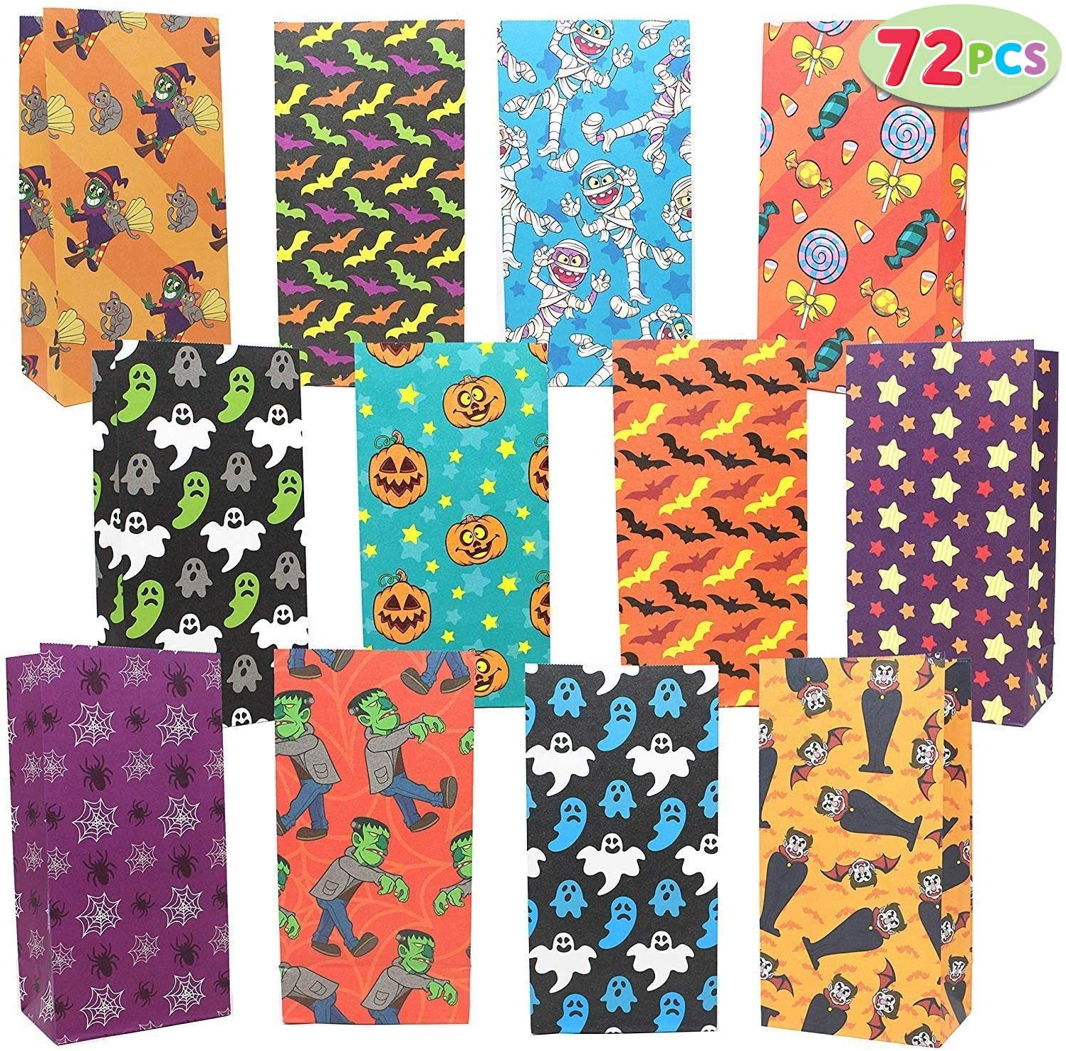 JOYIN 72 Pack of Halloween Bags; 12 Assorted Designs Paper Treat Bags for Classroom Treat Bags Halloween Party Favors, Trick or Treating Candy Bags, Goodie Bags