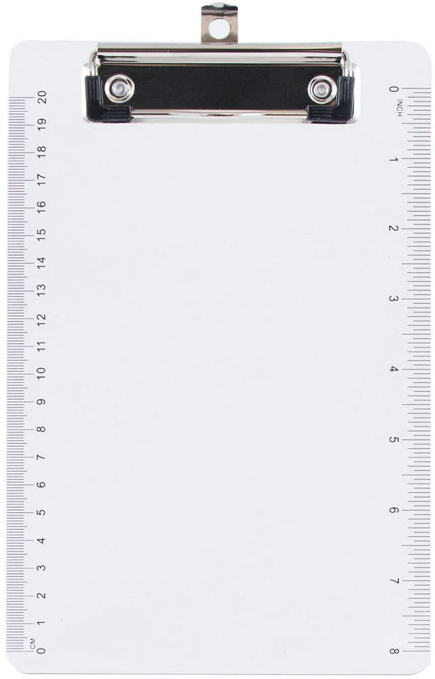 JAM PAPER Small Plastic Memo Clipboards with Low Profile Metal Clip - Mini (6 x 9) - Clear - Clip Board Sold Individually