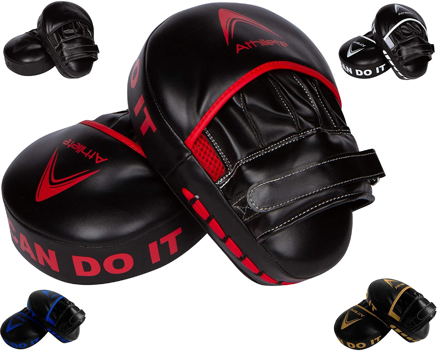 Athllete Boxing MMA Punching Mitts- Curved Focus Pad- Muay Thai Hook and Jab Curved Kickboxing Punching Shield