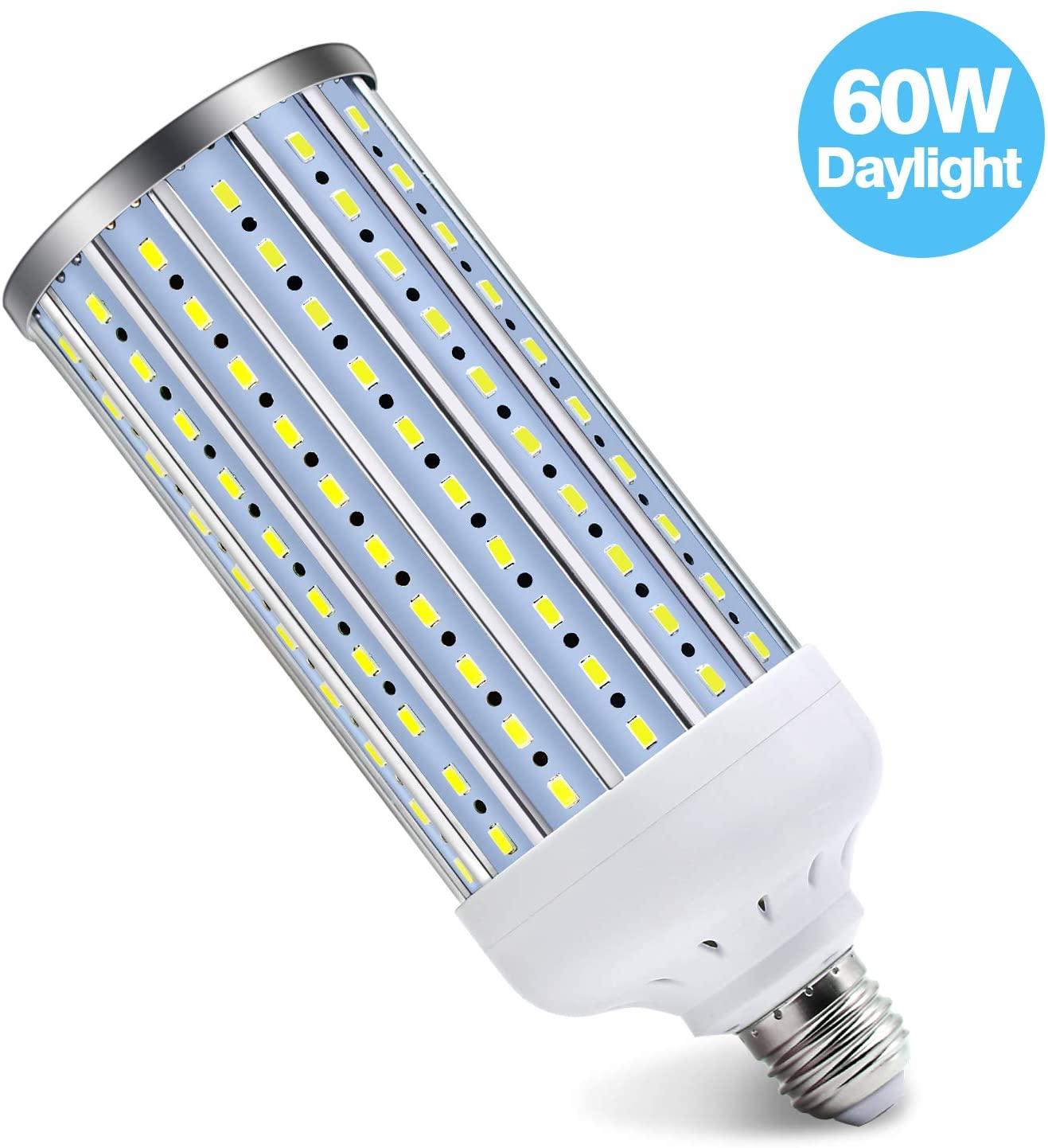 Solarlang LED Corn Light Bulb, 60W, 6500K Daylight White, 5500 Lumen(500W Equivalent) E26/E27 Medium Base, for Indoor Outdoor Large Area Lighting, Garage Factory Warehouse Backyard, Basement