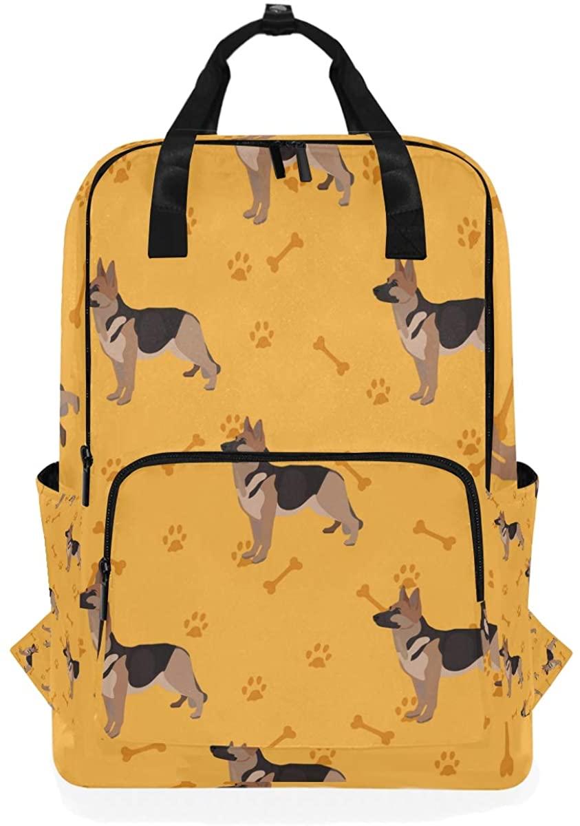 German Shepherd Dog Paw Bone Animal Yellow Backpack School Travel Daypack Laptop College Bookbag 14 Inch Doctor Bag