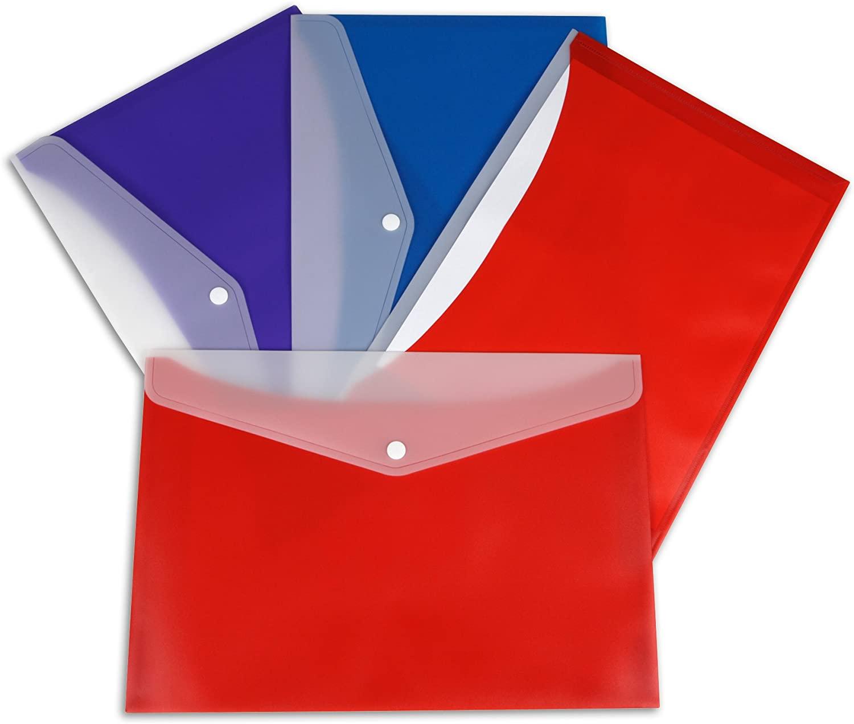 C-Line Snap 'N Go Reusable Poly Portfolio, 150-Sheet Capacity, Letter Size, Assorted Colors, 24 Pack (99366)
