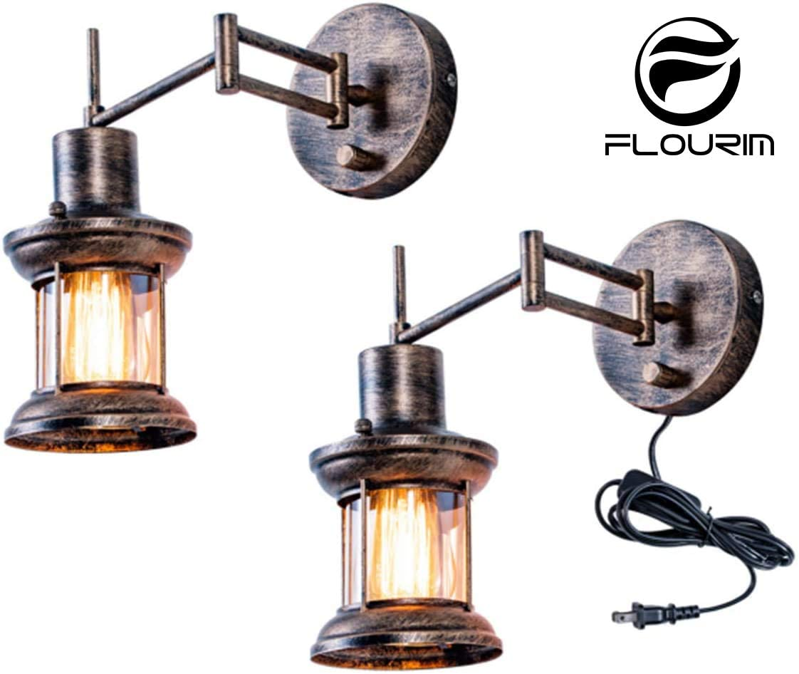 Wall Light Fixture, FLOURIM UL Farmhouse Dimmable Swing Arm Wall Lamp Hardwire or Plug in Wall Sconce Rustic Vintage Bedside Reading Lamp with On/Off Switch Cord for Kitchen Bedroom Living Room(2Pack)