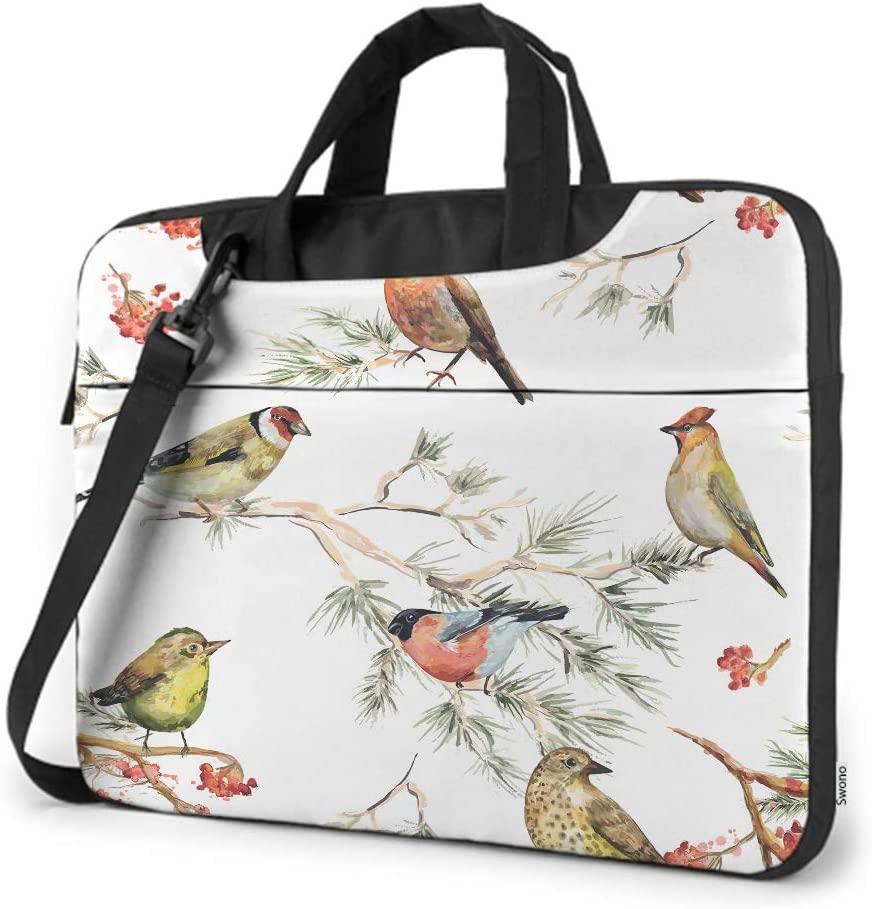 Swono Bird Laptop Bag,Vintage Watercolor Forest Birds Painting Design Laptop Sleeve Messenger Adjustable Shoulder Strap External Pocket for Men Women 15.6